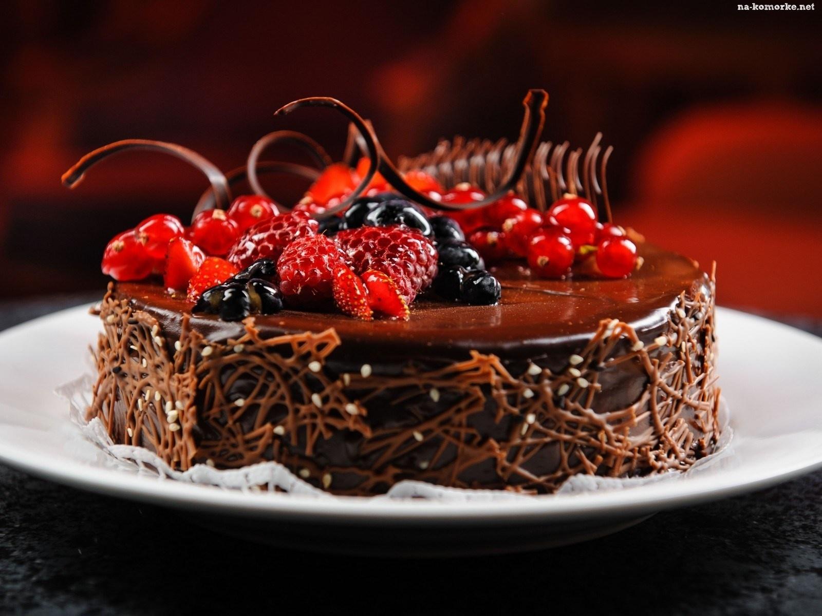 Czekoladowy Owoce Tort Dekoracja Na Kom 243 Rkę
